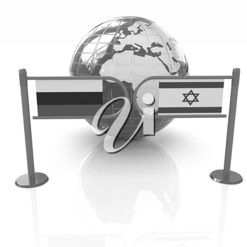 Three-dimensional image of the turnstile and flags of Russia and Israel on a white background
