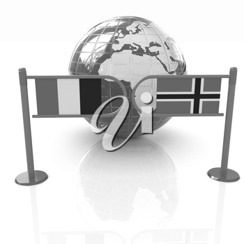 Three-dimensional image of the turnstile and flags of France and Norway on a white background