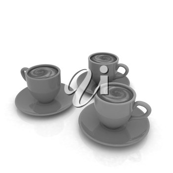 Coffee cups on saucer on a white background