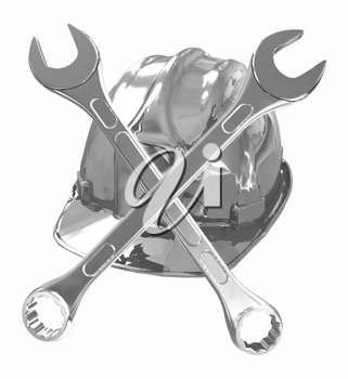 The protective helmet working and crossed wrenches. The image of a skull and bones on a white background