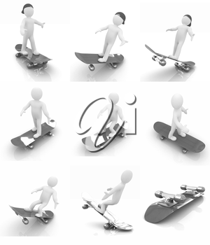 Set of 3d white person with a skate and a cap. 3d image on a white background