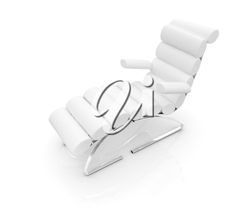 Comfortable white Sun Bed on white background