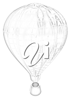 Hot Air Balloons with Gondola. Colorful Illustration isolated on white Background