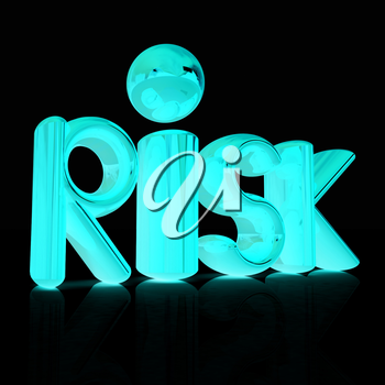 3d text risk on a black background