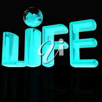 3d text life on a black background