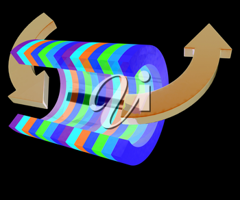3d colorful abstract cut pipe and arrows on a black background