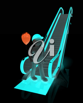 Escalator and 3d man with balloon on a white background