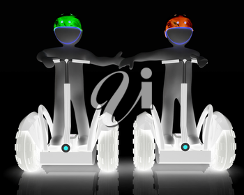 3d people in riding on a personal and ecological transport in helmet and holding hands. Concept of partnership