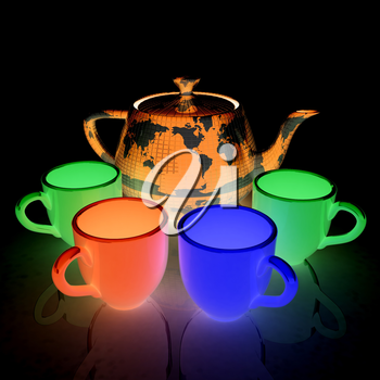 colorfull cups and teapot for earth. Globally. Drink for the entire planet.Concept of communication