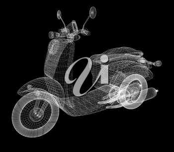 Vintage Retro Moped. 3d model