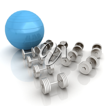Fitness ball and dumbell