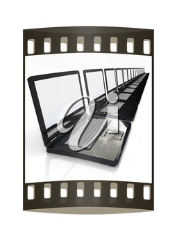 network concept on a white background. The film strip