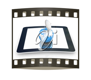 The concept of mobile high-speed Internet and planet earth on a white background. The film strip