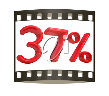 3d red 37 - thirty seven percent on a white background. The film strip