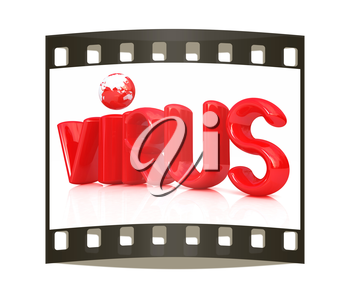 3d red text virus on a white background. The film strip