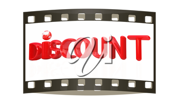 3d metal text discount on a white background. The film strip