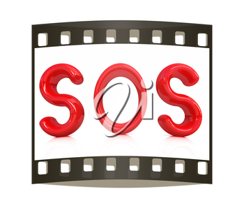 3d red text sos on a white background. The film strip