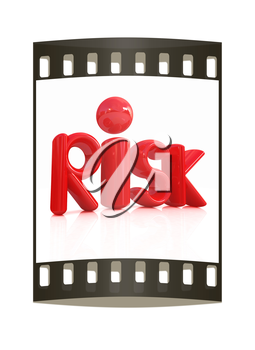 3d red text risk on a white background. The film strip