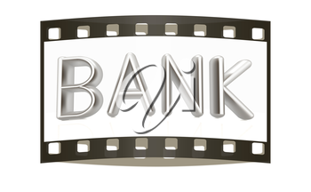 3d metal text bank on a white background. The film strip