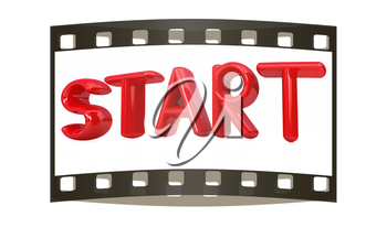 start 3d red text on a white background. The film strip