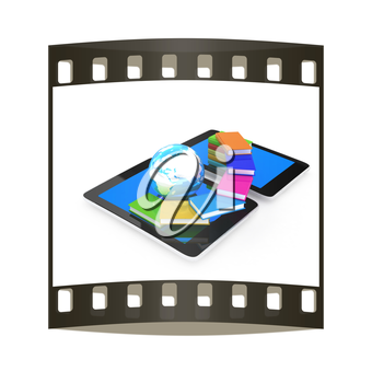 tablet pc and earth with colorful real books  on white background. The film strip