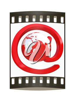 Glossy icon with mail for Earth on a white background. The film strip