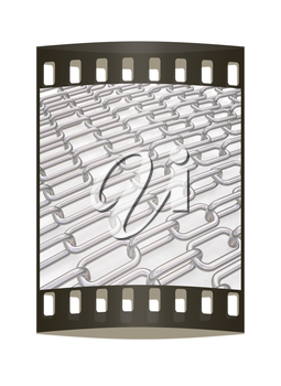 Metal chains on a white background. The film strip