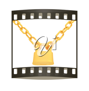 gold chains and padlock isolation on white background - 3d illustration. The film strip
