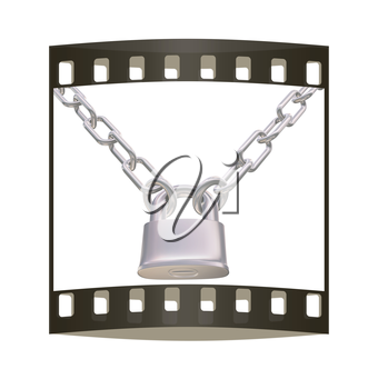 chains and padlock isolation on white background - 3d illustration. The film strip