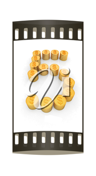 the number five of gold coins with dollar sign on a white background. The film strip