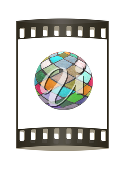 Mosaic ball on white background. The film strip