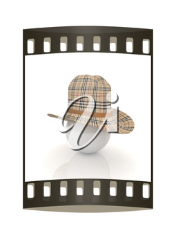 3d hats on white ball. Sapport icon on a white background. The film strip