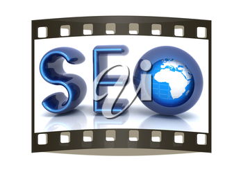 Blue metallic text 'SEO' with earth globe, symbol. 3d illustration on a white background. The film strip