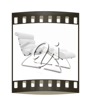 Comfortable white Sun Bed on white background. The film strip