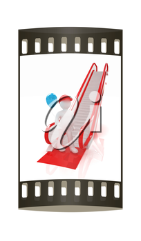Escalator and 3d man with balloon on a white background. The film strip