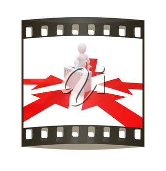 3d doctor and arrows on a white background. The film strip
