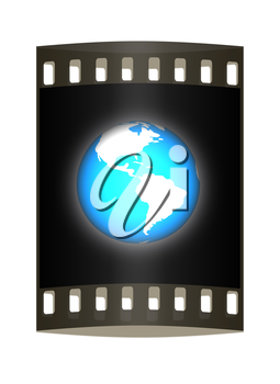 Earth glow on a white background. The film strip