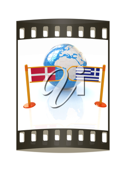 Three-dimensional image of the turnstile and flags of Denmark and Greece on a white background. The film strip