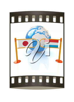 Three-dimensional image of the turnstile and flags of Japan and Luxembourg on a white background. The film strip