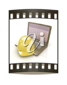 Technical engineer concept on a white background. The film strip