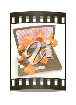 Powerful laptop specially for 3d graphics and software on a white background. The film strip