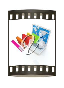 Colorful books flying and laptop on a white background. The film strip