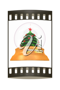 Christmas Snow globe with the falling snow and christmas tree on a white background. The film strip