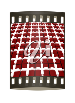 Bright christmas gift background. The film strip