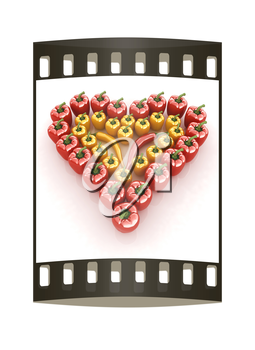 Bulgarian Pepper Heart Shape, On White Background. The film strip