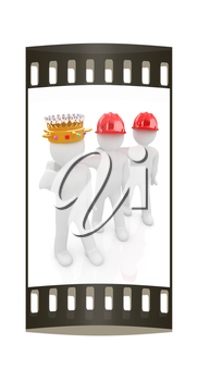 3d people - man, person with a golden crown. King with person with a hard hat. The film strip