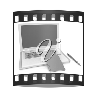 laptop and notepad on a white background. The film strip with place for your text
