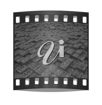 Electronic urban background. The film strip with place for your text