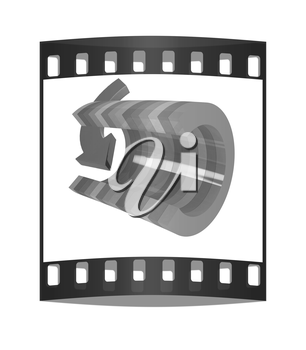 3d colorful abstract cut pipe and arrow on a white background. The film strip