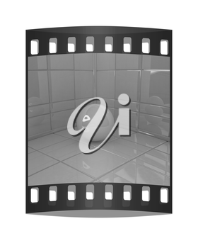 Corner in the room with ball on a white background. The film strip